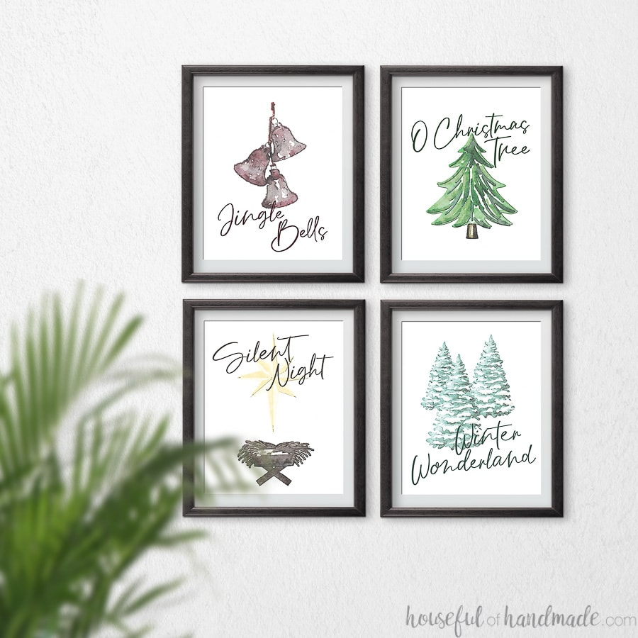Four watercolor Christmas printables based off classic Christmas songs: Jingle Bells, O Christmas Tree, Silent Night, and Winter Wonderland.