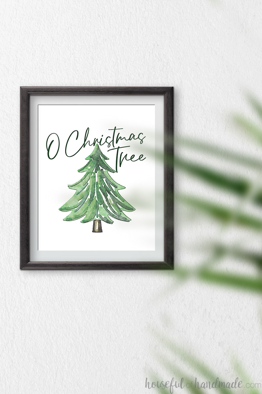 O Christmas Tree script font over the top of a watercolor pine tree as a Christmas art print.