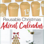 Close up of the paper pockets and picture of the advent calendar with text overlay: Reusable Christmas Advent calendar.