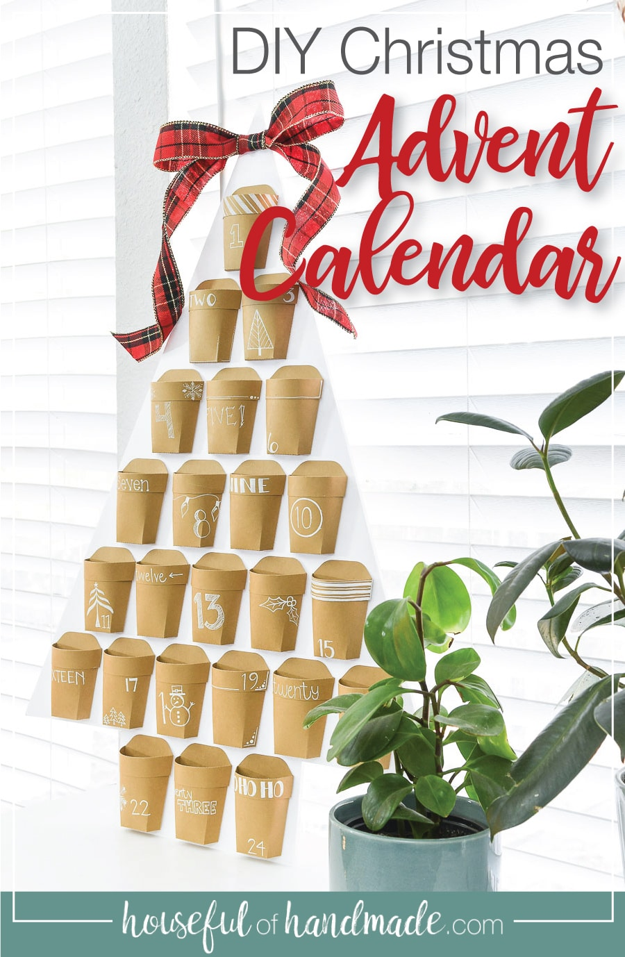Picture of the finished DIY advent calendar with text overlay: DIY Christmas Advent Calendar.