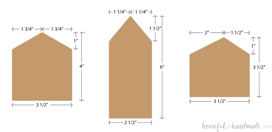 Illustration with measurements of the sizes and shapes of the house Christmas ornaments.