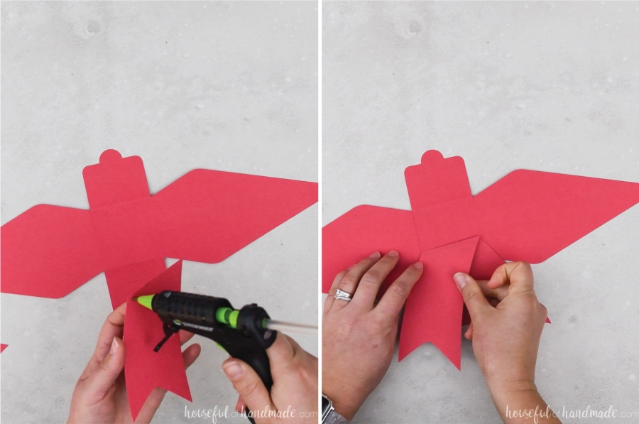 Two pictures showing the bow tails being glued to the back of the red bow gift card holder.