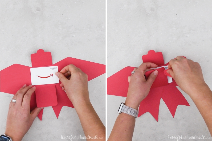 Two pictures showing the gift card being placed in the holder and the sides being folded in and secured.