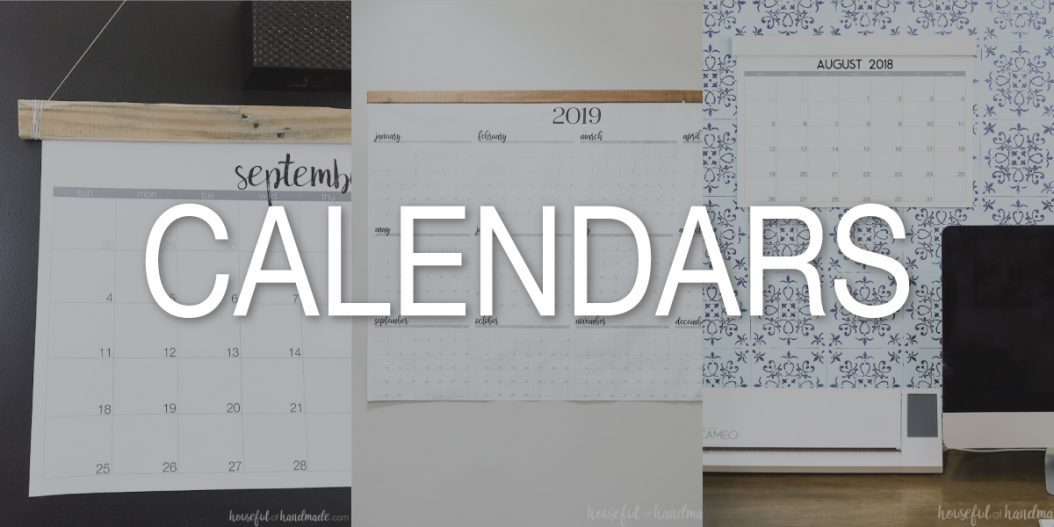 Three printables calendars with a gray overlay and word Calendars on top.