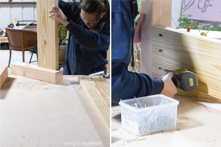 Attaching the legs to either side of the 2x8 board for the footboard.