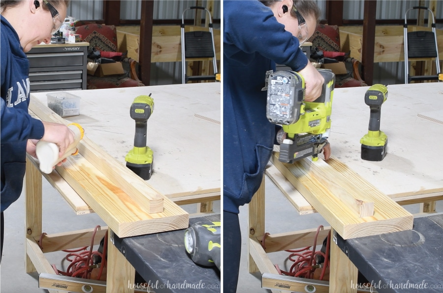 Attaching the 2x2 board to the rails with wood glue and a nail gun.