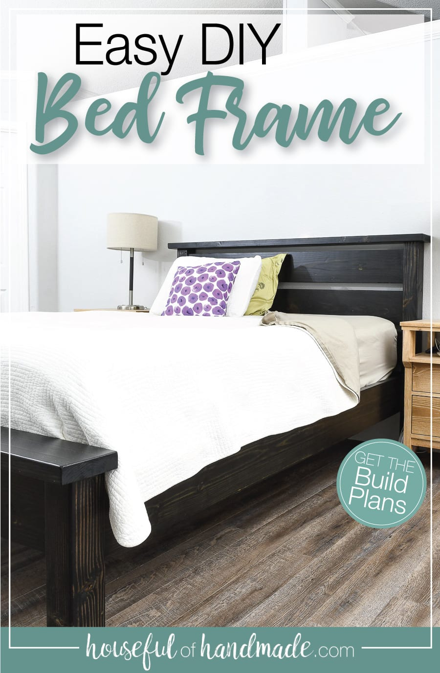 DIY bed frame stained black and assembled in a bedroom with bedding with text overlay: Easy DIY Bed Frame.