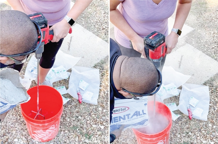 Mixing the Cement All into the water in the 5 gallon bucket with a metal paddle in a drill.