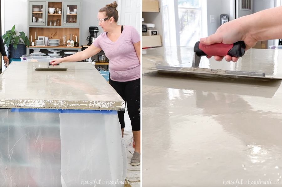 Smoothing the top of the concrete countertop with a trowel in an arched movement.