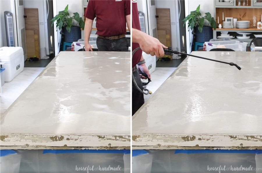 Two pictures showing the concrete countertop as it starts to look dry and then wetting it down with a sprayer.