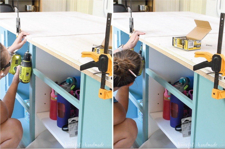 Two pictures showing attaching the small melamine strips to the bottom of the cement board.
