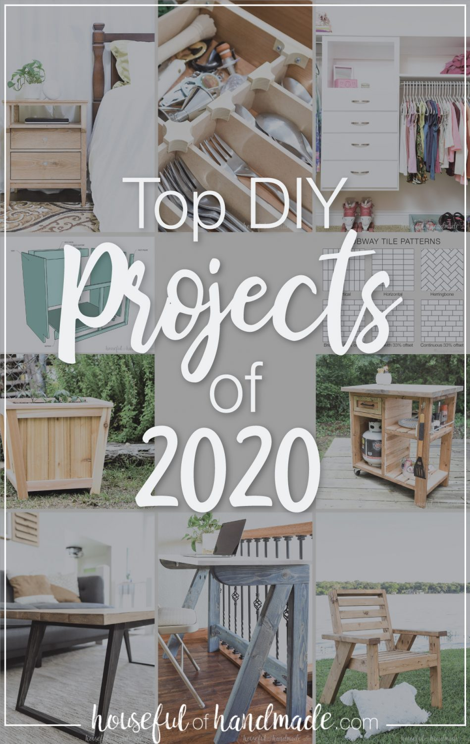 Large picture of the 10 most popular DIY projects from Houseful of Handmade with a text overlay: Top DIY projects of 2020.