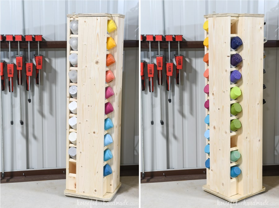 Two pictures of the spray paint storage cabinet showing it rotating.