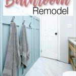 Picture of the completed bathroom remodel with text overlay: $100 Bathroom Remodel.
