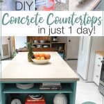 Three pictures of the process of pouring the concrete countertops with rapid set cement and picture of the completed kitchen countertop with text overlay: DIY Concrete Countertops in just 1 day!