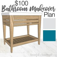 Mini design board of the $100 budget bathroom makeover with 3D drawing of the vanity, picture of marble vinyl flooring, gray and blue color swatches, and text: $100 Bathroom Makeover Plan.