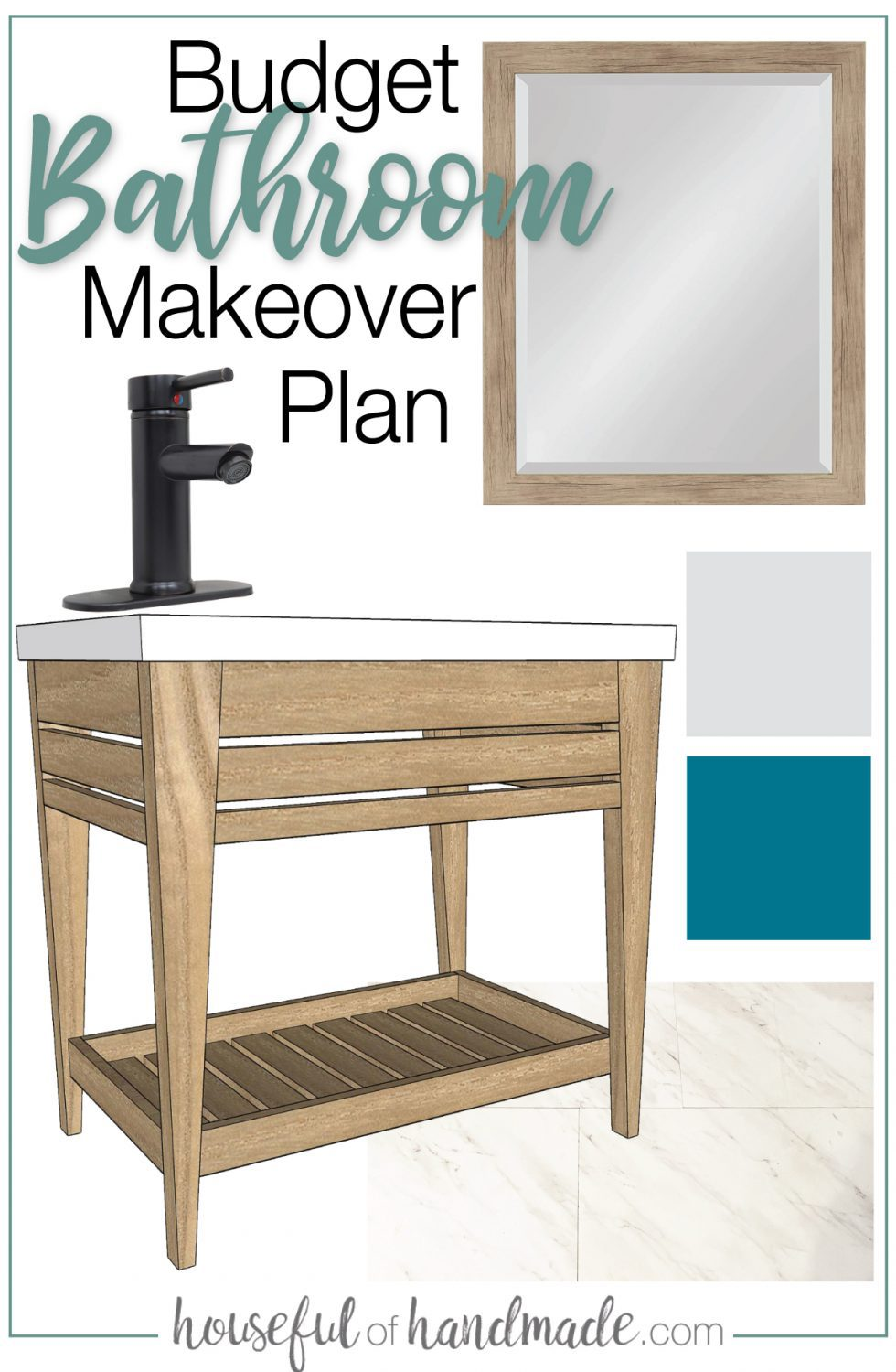 Mood board for the $100 bathroom remodel with wood framed mirror, open bathroom vanity, vinyl floor, color swatches and black faucet with text: Budget Bathroom Makeover Plan.