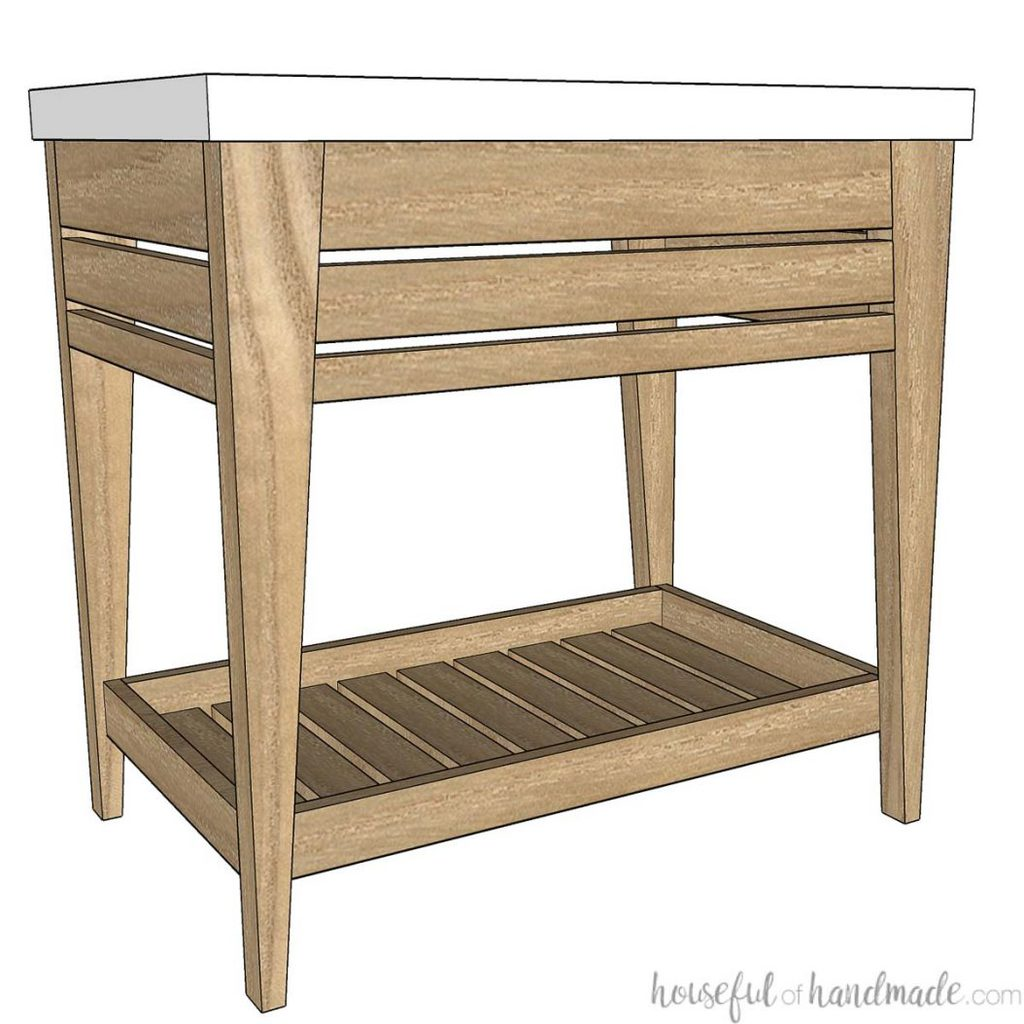 3D SketchUp drawing of the modern open vanity design for the budget bathroom makeover.