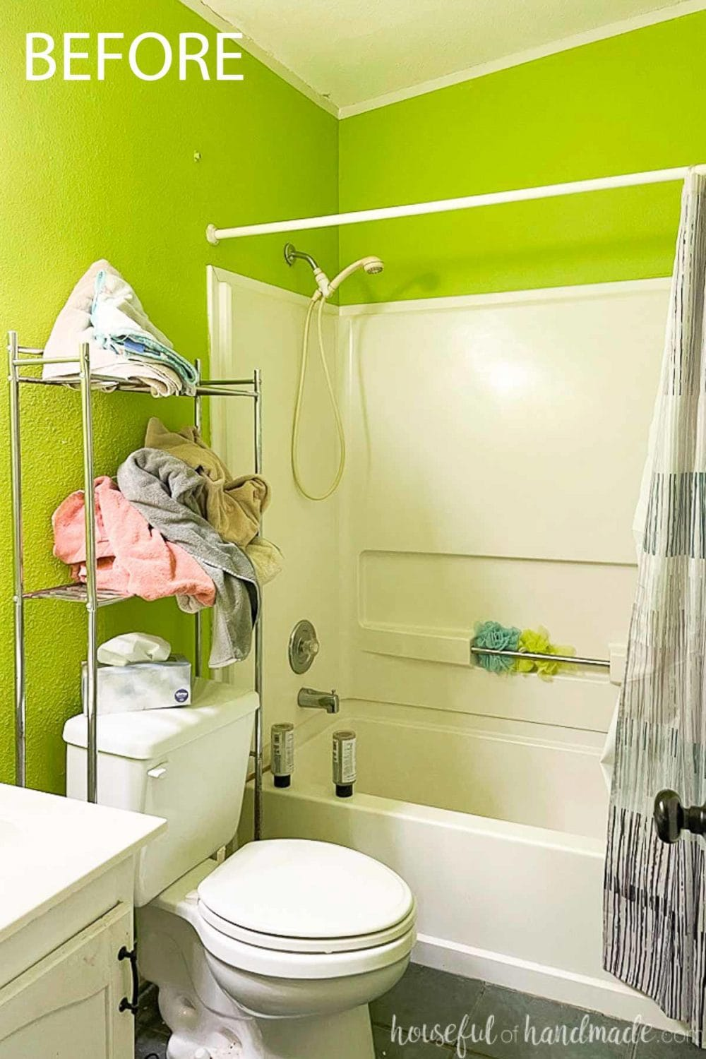 Before photo of the bathroom with vibrant green walls and bad shelving that is going to be remodeled for $100.