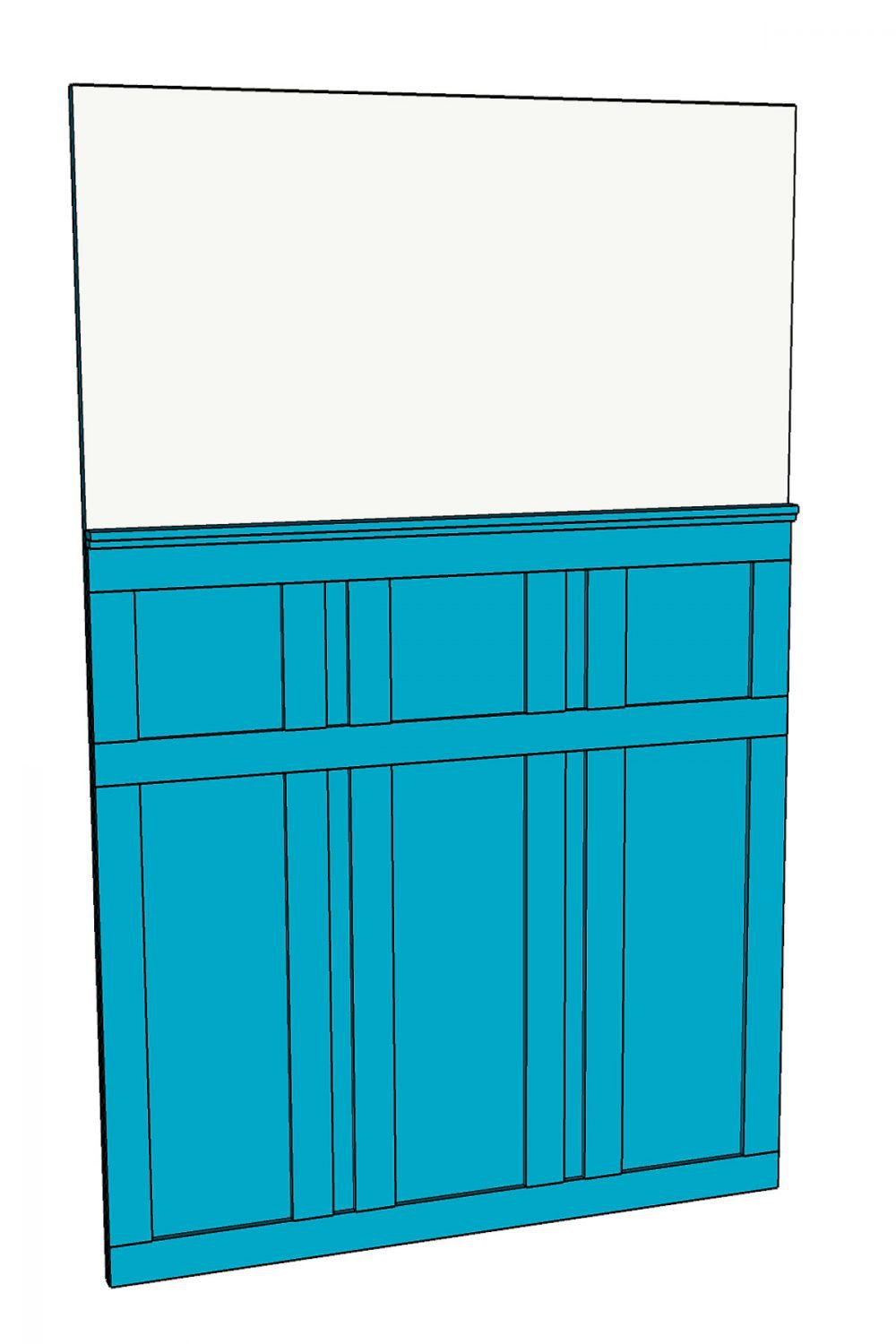 3D SketchUp drawing of the wall behind the door with board and batten painted blue on it.
