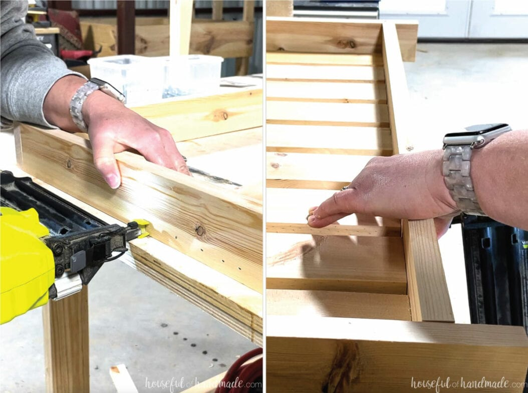 Finishing the bathroom vanity shelf assembly by attaching the 1x3 slats inside the frame.