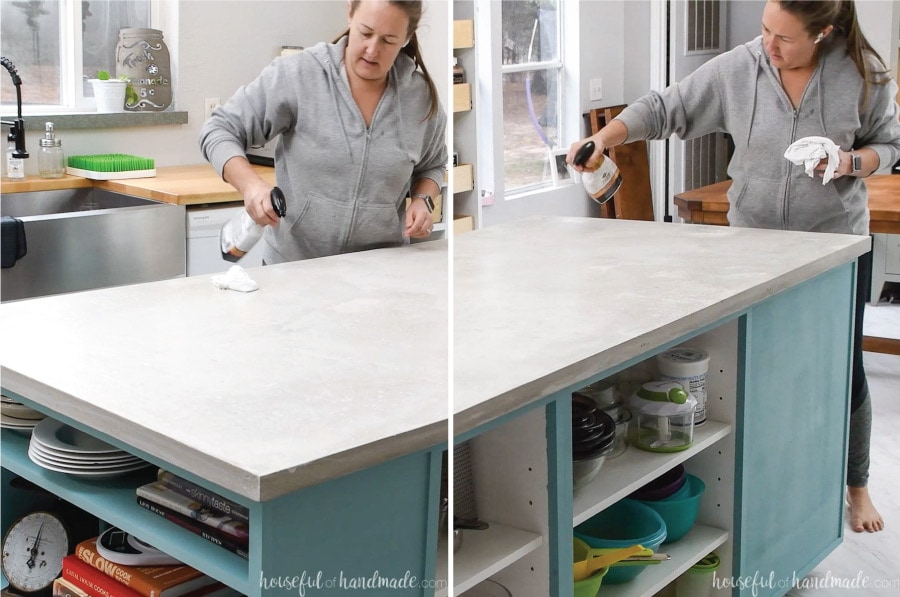 Two pictures showing spraying the Stone Care sealer on the DIY concrete countertops.