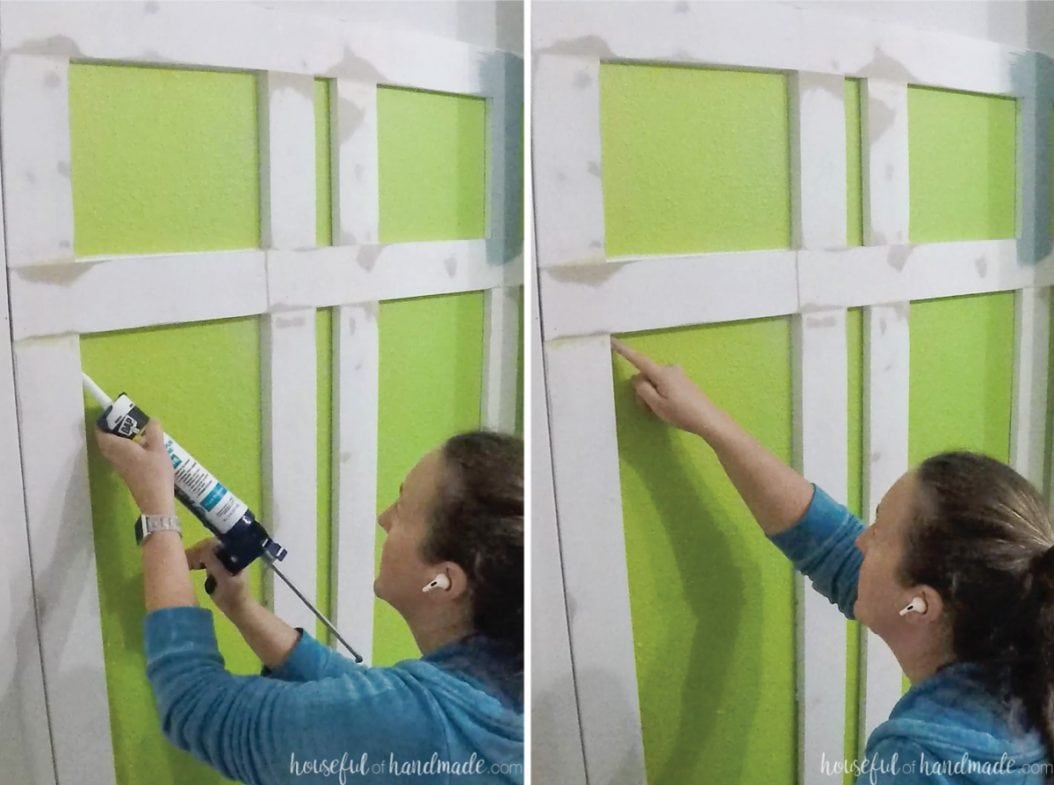 Caulking the sides of the boards with paintable caulk.