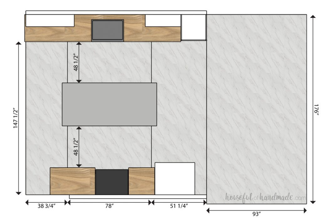 3D SketchUp drawing of the kitchen and dining room floor plan with the floor split into rectangles with the length and width measurements on them.