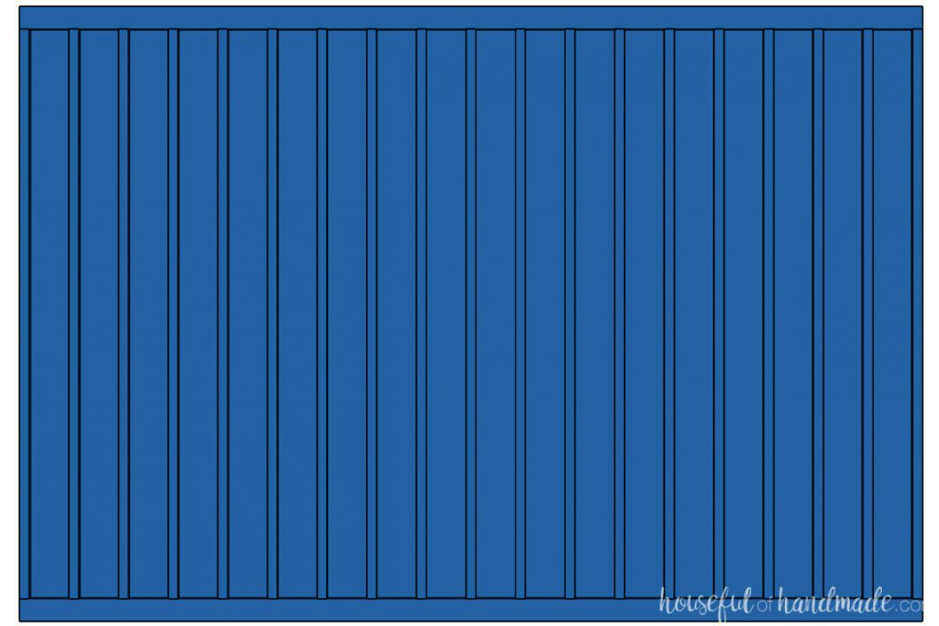 3D drawing of a full wall board and batten design with thin vertical boards and thicker top and bottom boards.