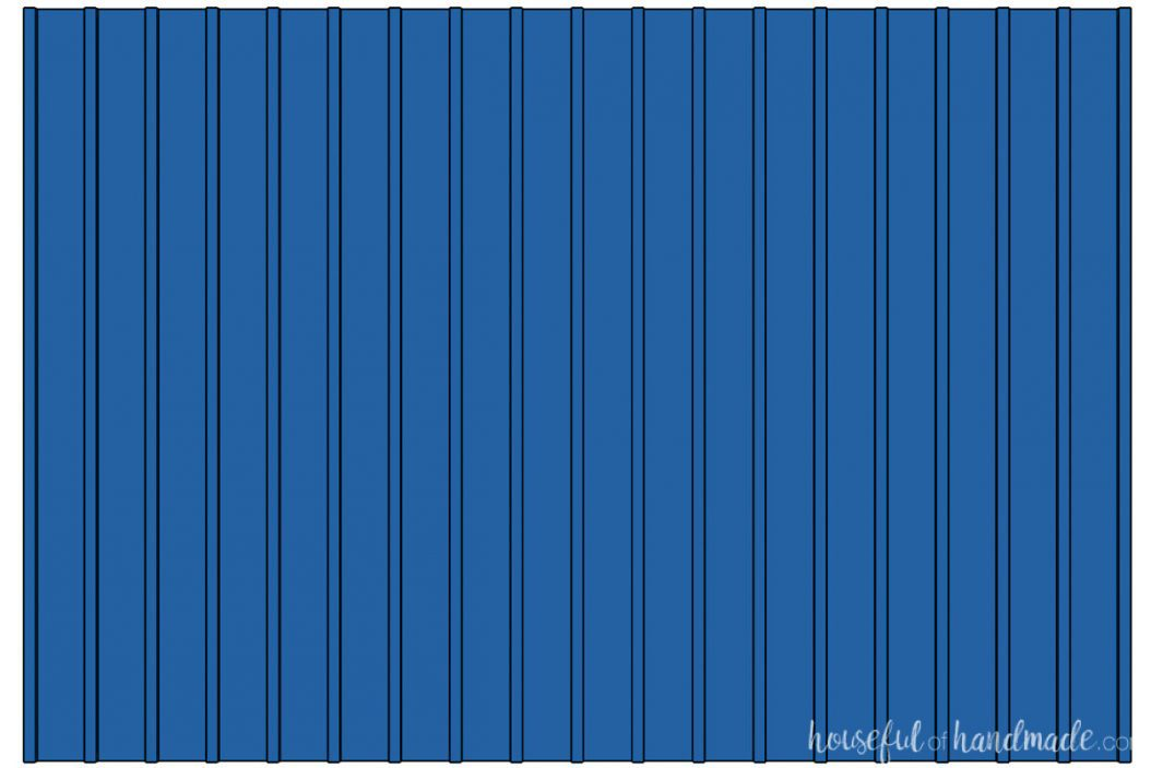 3D drawing of a full wall board and batten design with thin vertical boards and no horizontal boards.