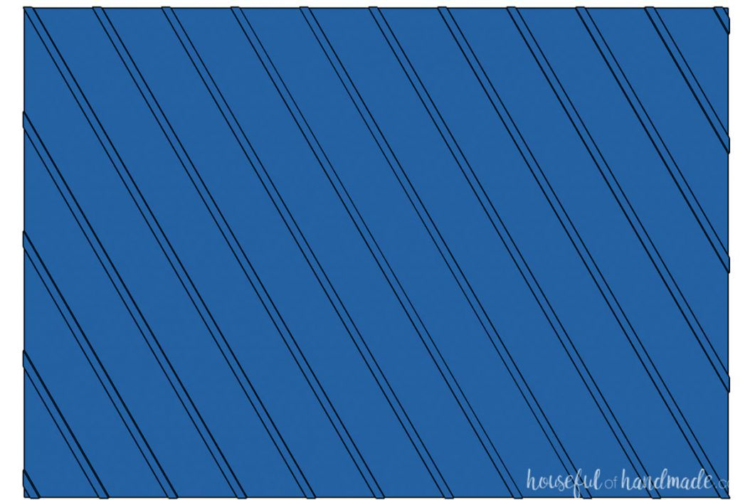 3D drawing of a board and batten wall with angled boards.