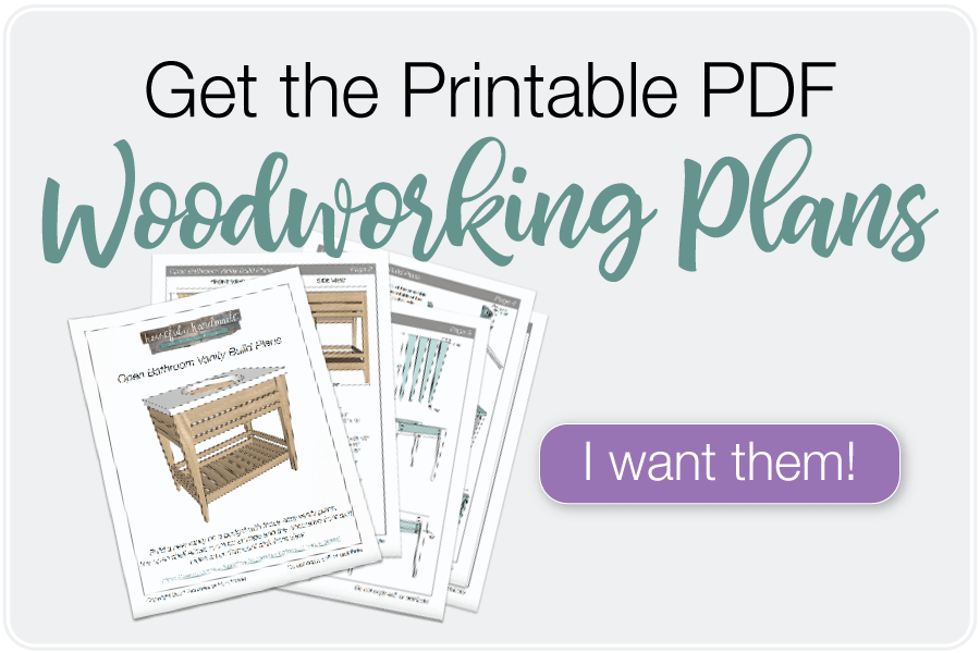 Button to purchase the PDF printable plans for the DIY bathroom vanity.