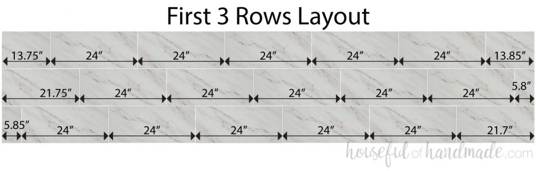 Drawing of the tile layout of the 3rd stagger for the 12x24 vinyl floor tiles.
