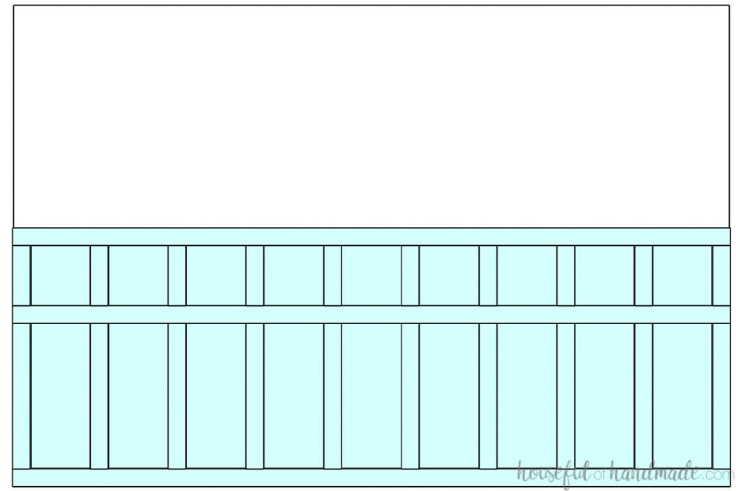 3D drawing of a half wall board and batten design with a third horizontal board to add cubes to the top of the design.