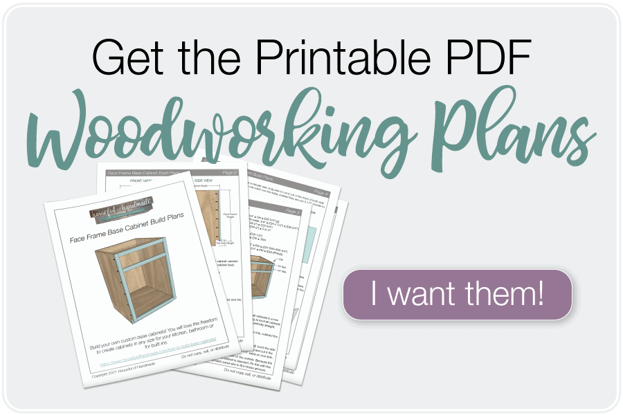 Button to buy printable PDF build plans for the face frame base cabinets.