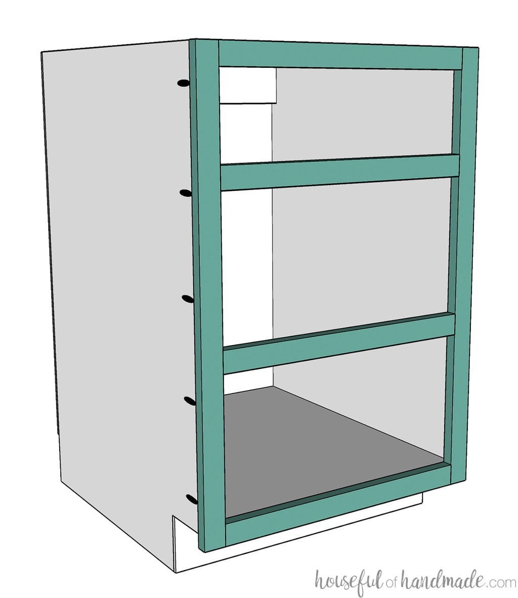 3D sketch of the face frame drawer base cabinet with the face frame attached to the front.