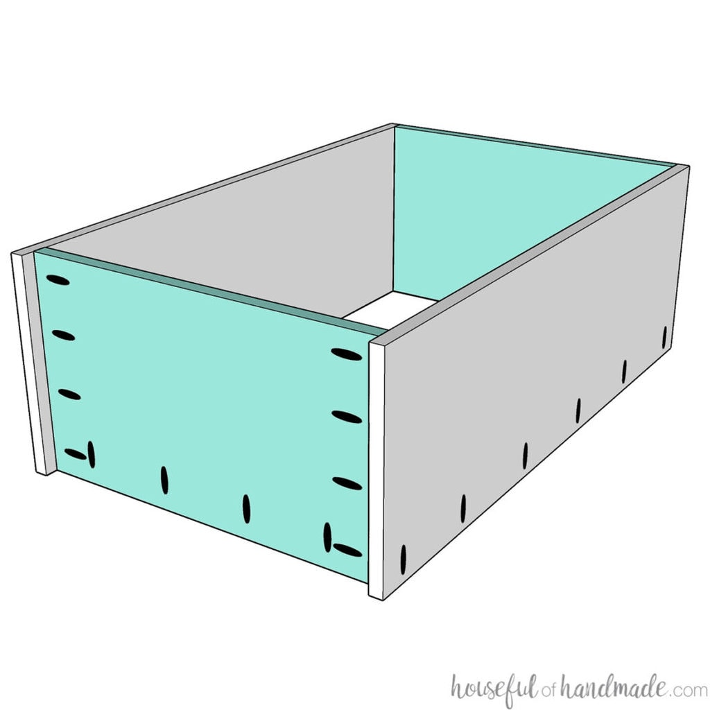3D sketch of the top and bottom pieces of the wall cabinet attached to the sides with pocket holes.