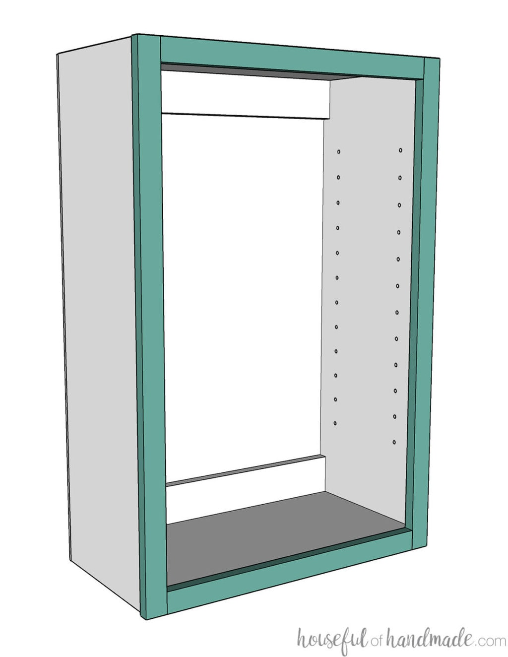 3D drawing of wall cabinet with holes for shelf pins in the side.