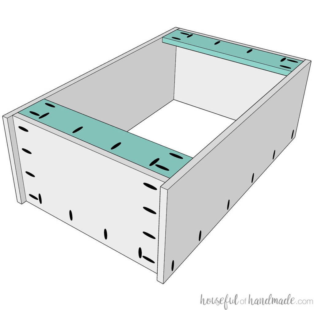 3D drawing of the support pieces being attached to the wall cabinet.