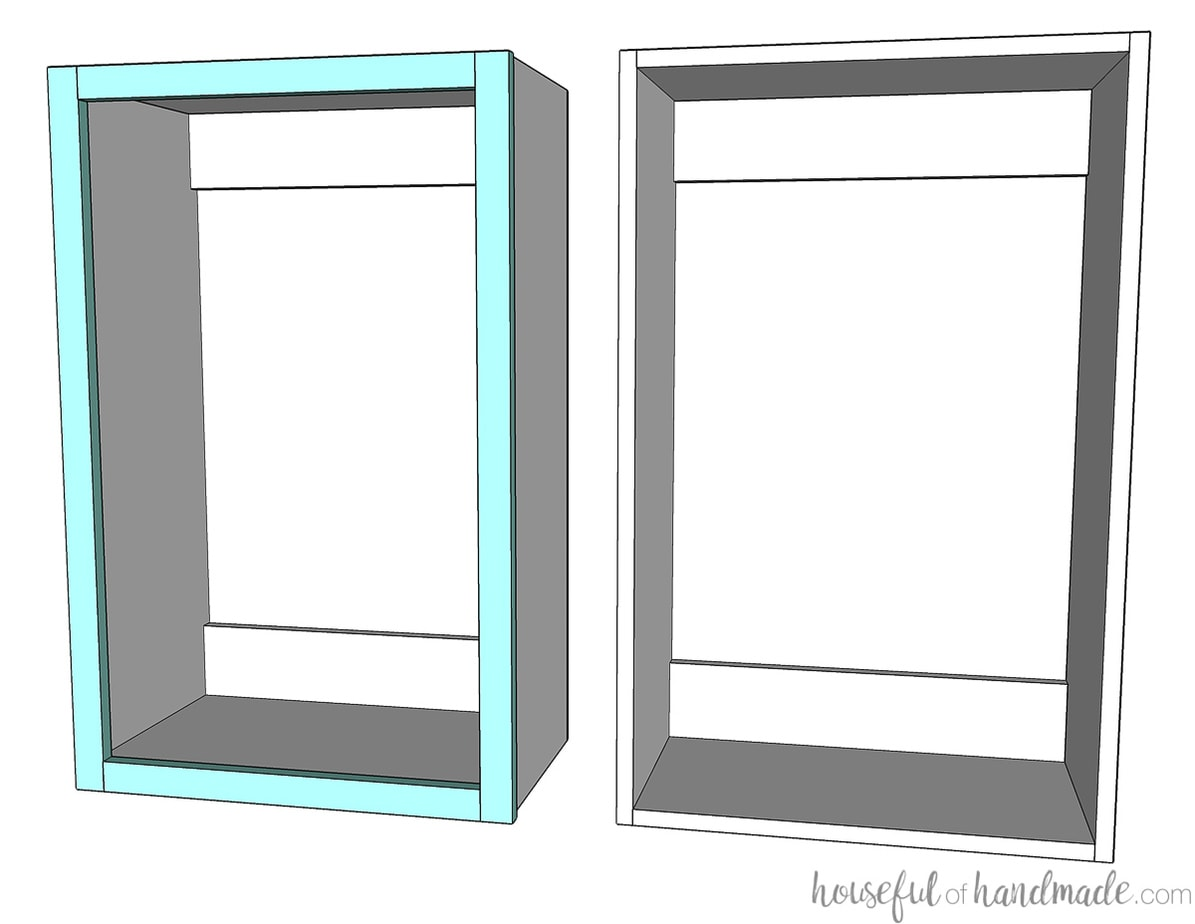 3D drawing of a face frame wall cabinet and a frameless wall cabinet.
