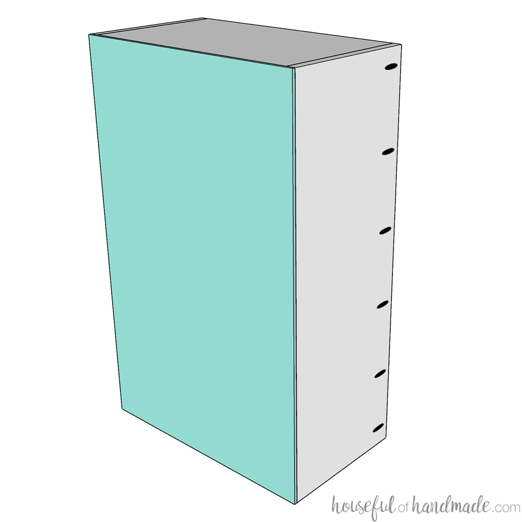 3D sketch of the back piece attached to the completed wall cabinet carcass.