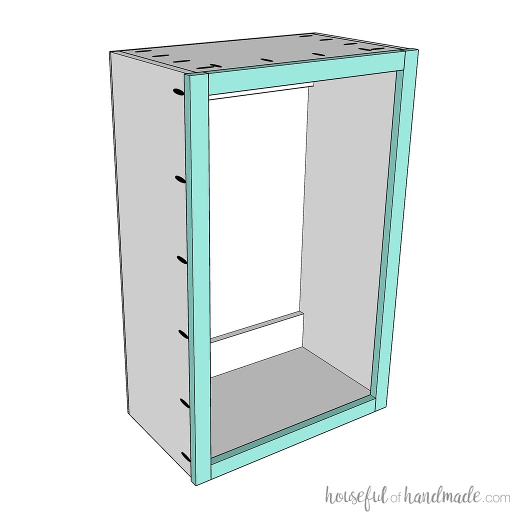 3D sketch of the face frame being attached to the front of the completed wall cabinet carcass.