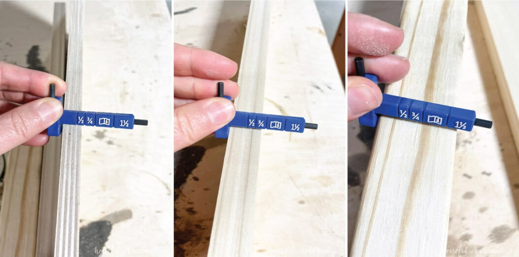 The material thickness gauge from the new Kreg jig being used to measure 3 different sized boards.