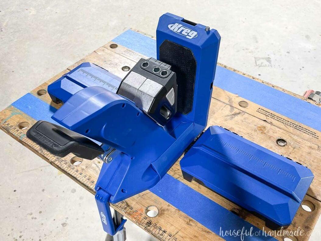 The Kreg pocket hole jig 720Pro set up on a folding work table.