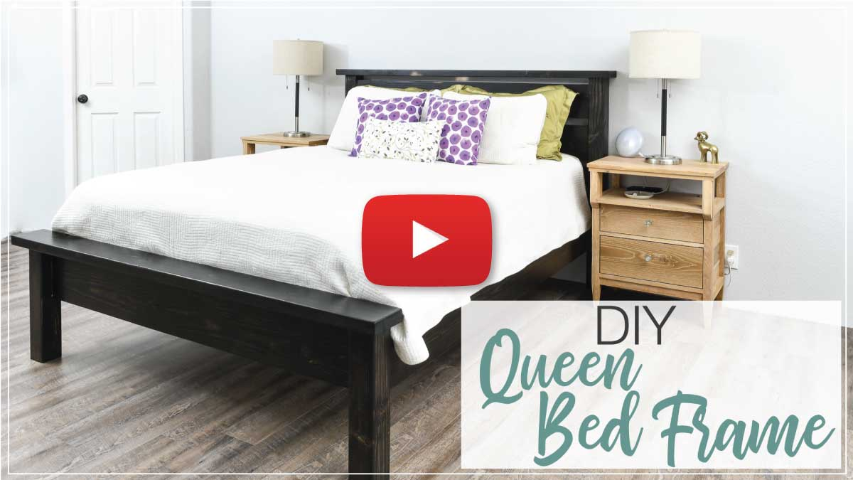 Queen bed video tutorial thumbnail with play button.