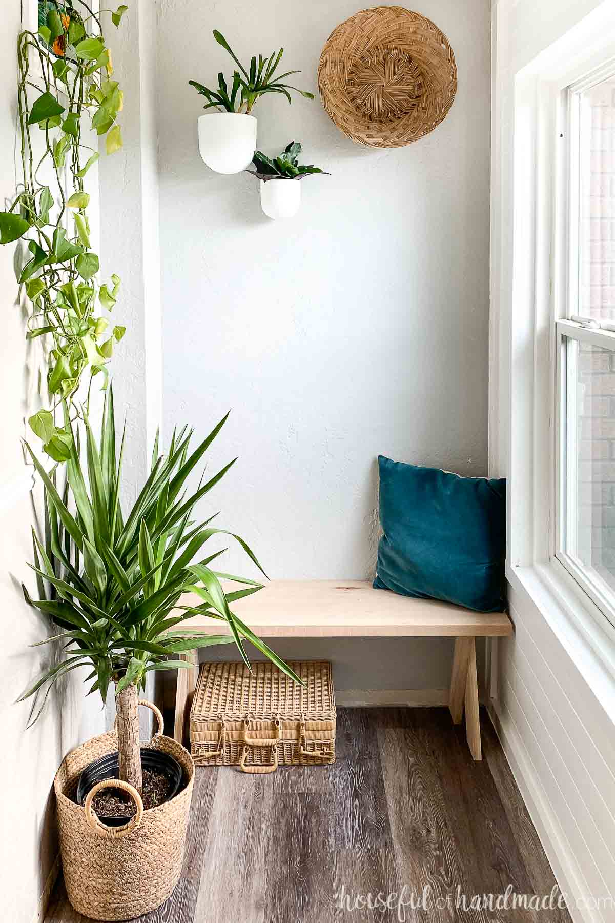 Entry nook with lots of houseplants hanging around the DIY bench with a wicker suitcase tucked underneath.
