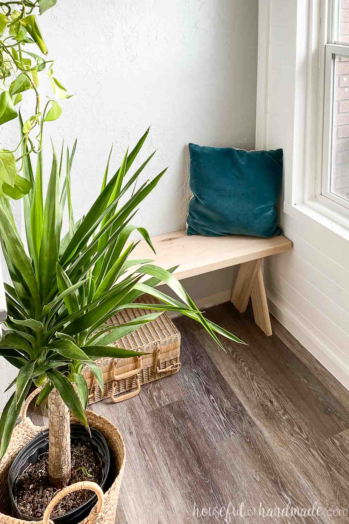 Tropical potted plant in the foreground with the DIY x-leg bench in the background with a velvet pillow on top.