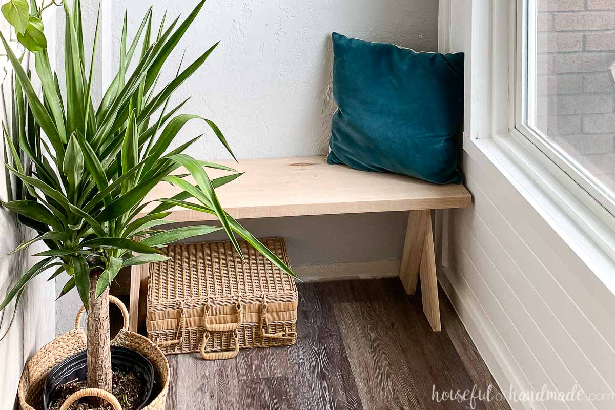 Horizontal photo of the bench in the entryway with a plant and accessories around it.