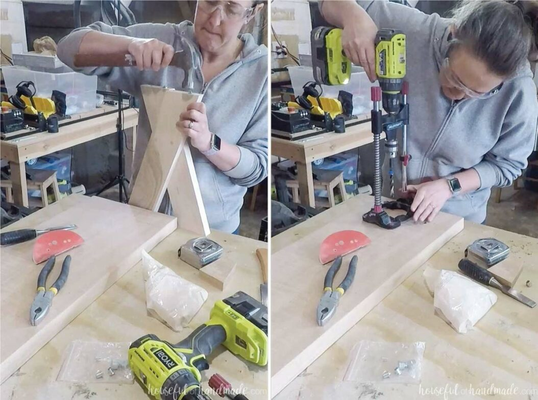 Two pictures showing tapping in dowel centering points to line up the location of the legs on the bench top and drilling the holes in the bottom of the bench top.