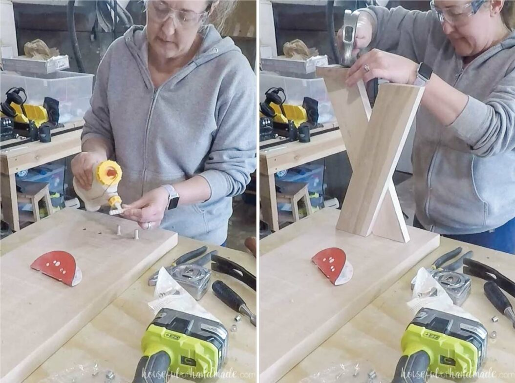 Two pictures showing glueing in the dowel pins and tapping the x-leg into place on the pins.